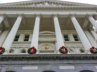 California State Capitol Building with Holiday Wreaths