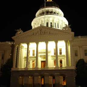Front of the California State Capitol Building at Night - vertical, slight angle (DSC00259)