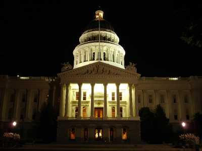 Front of the California State Capitol Building at Night - darker (DSC00250)