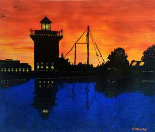 "ART 320, 2013-11-04, Project 4b, Asymmetrical Balance, Complementary Colors, ""Twilight at Harbour Town Lighthouse, Hilton Head Island, South Carolina"".jpg"