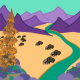 Bison, Stream, and Mountains Landscape