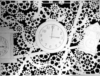 "ART 300, 2013-08-04, Final Project 2, Marker and Graphite, ""Clocks—Gears"".jpg"