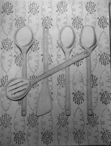 "ART 300, 2013-07-12, P2, Ex. 06, Ambiguous Positive-Negative Composition, Kitchen Utensils, ""What's Cookin' Doc"".jpg"