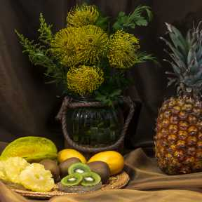 Tropical Fruits and Yellow Leucospermum Flowers - DSC4327