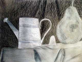 "ART 300, 2013-07-24, P3, Ex. 05, Black and White Charcoal on Gray, ""Classroom Still Life 2"".jpg"